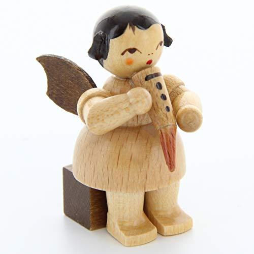 Engel mit Gemshorn - natur - sitzend - 5cm / Weihnachtsengel - Original Erzgebirge Engel -Kunstgewerbe Uhlig