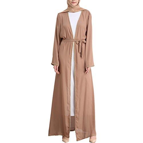 Zhhlaixing Mujer Muslims Cardigan Abaya Medio Este Manga Larga Kimono Musulmanes Cárdigan Vestido Suelto Túnica Noche Maxi Fiesta Ropa