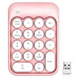 Wireless Numeric Keypad 18 Keys with 2.4G Mini Portable Silent Number Pad USB Receiver Financial Accounting Keyboard Extensions for Laptop Desktop PC Pro(Pink)
