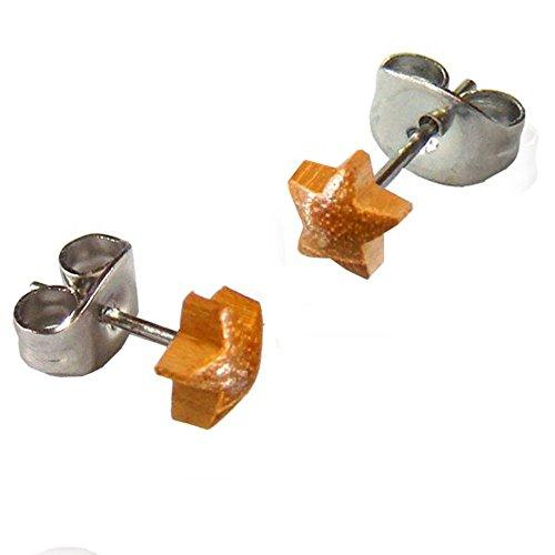 Studs teck marrone minadesign sporgente stella orecchini d''argento 316L Acciaio inossidabile