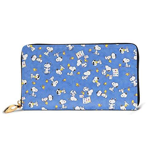 Snoopy Portemonnaie aus echtem Leder lange Geldbörse aus Metall mit Reißverschluss elegant elegant für Herren Große Kapazität Multifunktion