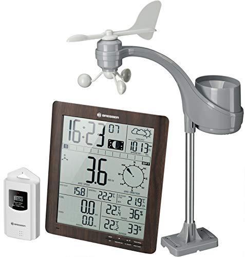 Bresser Wetterstation Funk mit Außensensor ClimaTemp XXL Wetter Center in Holzoptik mit Wind und Regenmesser