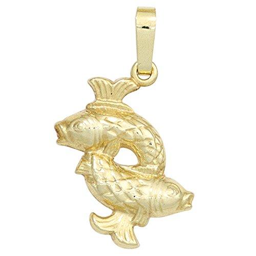 Ciondolo con segno zodiacale dei pesci 333Oro Giallo ciondolo collana gioielli donna