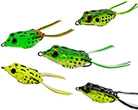 Hinature Topwater Frog Lures – 5.5CM 12G Soft Crankbait Fishing Lure Kit with Box for Bass Pike Snakehead Dogfish Musky – Pack of 5