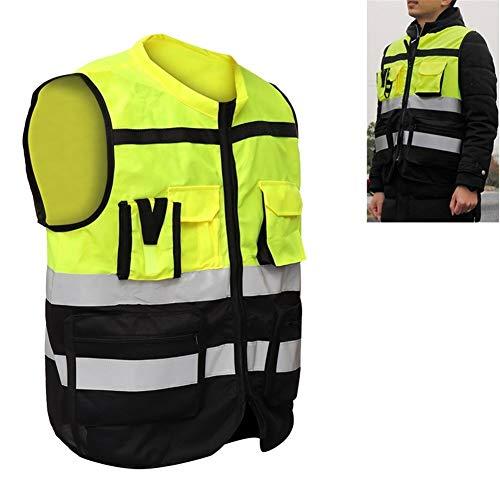 Alta visibilidad chaleco reflectante Hombres bolsillos Diseño chaleco de seguridad al aire libre Seguridad del Tráfico en el desgaste de ciclo Correr Caminar (Talla : L)