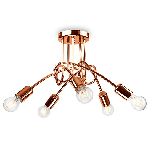 Pendel-Leuchte Decken-Leuchte aus metall E27 Hänge-Leuchte (Farbe: Kupfer) Vintage Industrieleuchte Wohnzimmerlampe Modern Wohnzimmer Vintagelampe für Wohnzimmer/Küche/Büro/Praxis