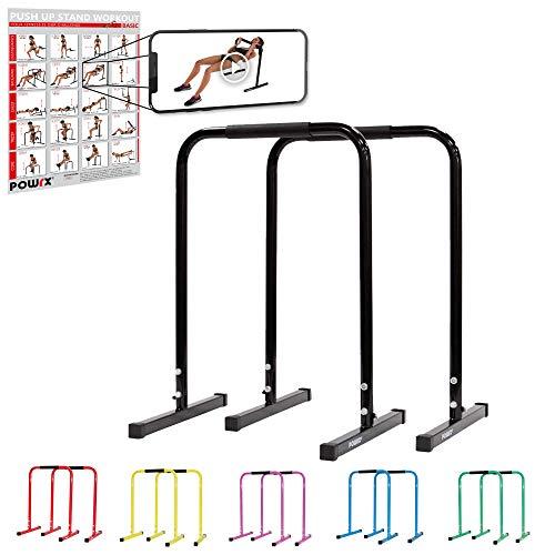 POWRX Dip Barren (Paar) inkl. Workout | Push Up Stand Bar | Dip Station | Fitness Rack | Core Trainer (Schwarz, 76 x 57 cm)