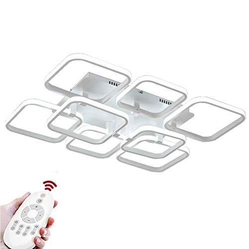 Moderne plafondlamp LED woonkamer artistieke persoonlijkheid lamp 8 vierkant wit acryl metaal voor keuken slaapkamer eetkamer kantoor dimbare 73 * 50 * 14 cm 110 Watt 6500LM