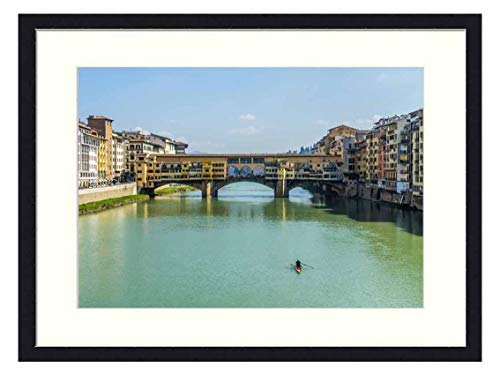 OiArt Wall Art Print Wood Framed Home Decor Picture Artwork(24x16 inch) - Europe Italy Florence Firenze Tuscany River Arno