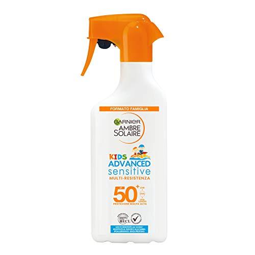 Garnier Ambre Solaire Spray Gachette Protettivo IP 50+ Advanced Sensitive Kids, Protezione Molto Alta, Multi-Resistenza, Formato Famiglia, 300 ml