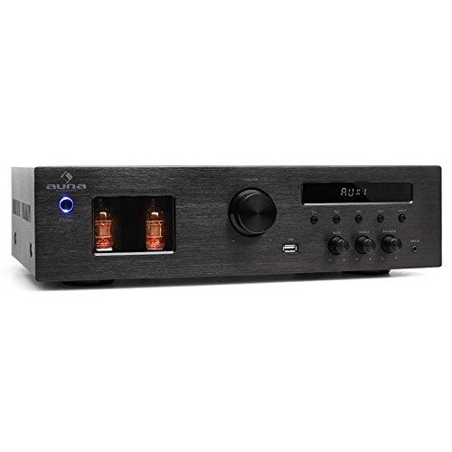 Auna Tube 65 - Amplificador estéreo de válvulas, Receptor, Sistema de Sonido, 600 W, USB con MP3, Radio FM, Memoria 50 Frecuencias, Negro