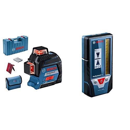 Bosch Professional Linienlaser GLL 3-80 (roter Laser, max. Arbeitsbereich: 30 m, 4x AA Batterie) & Laserempfänger LR 7 (roter und grüner Strahl, 2 x AAA Batterien, Reichweite: 5-50 m, Schutztasche)