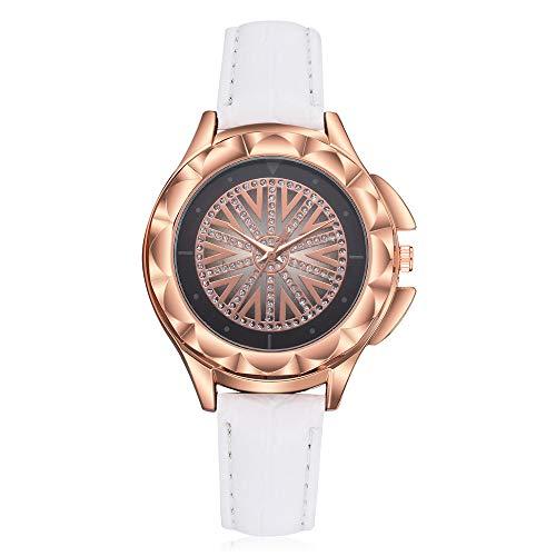 Lazzgirl Art- und Weiseluxuriöse Damen-Leder-Nachahmungs-Muster-Quarz-analoge Armbanduhren(Blanc,One Size)