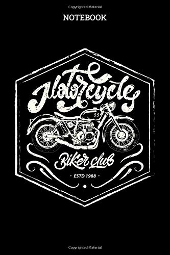 Notebook: Biker Club Badge Blank Lined Journal To Write In For Notes, Ideas, Diary, To-Do Lists, Notepad - Motorcycle Gifts For Motorcycle Riding And ... Idea For Men And Teens Who Love Motorbike