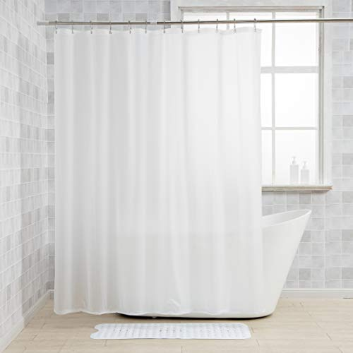 AmazerBath Shower Curtain Liners, 72 x 84 Inches PEVA 3G Shower Curtains with Heavy Duty Beads and 12 Grommet Holes, Waterproof Plastic Shower Liner for Bathroom Frosted, 2 Pack