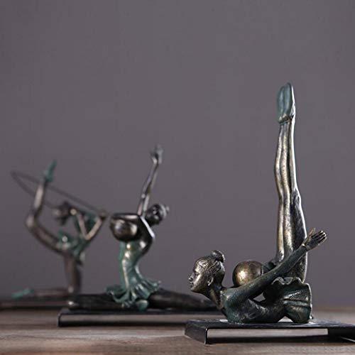 SN Retro Schönheit Yoga Gymnastik Figuren Skulptur Handwerk Ornamente Kreative Wohnzimmer Büro Kunstwerk Geschenk,17,5 * 9 * 28 cm