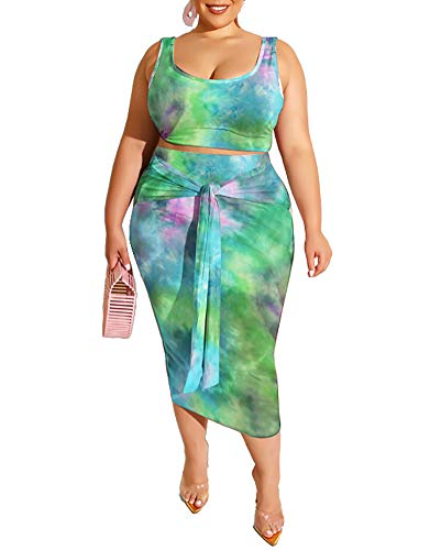 Plus Size Skirt Sets - Stretchy Sexy Two Piece Outfits for Women Bodycon Crop Top + Long Pencil Skirt Green X-Large
