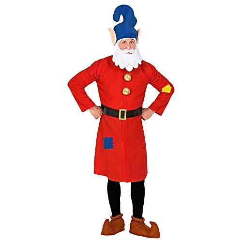 WIDMANN 10633 - Disfraz de enano, parte superior, cinturón, gorro con barba, gnomo, gnomo, cuento de hadas, fiesta temática, carnaval