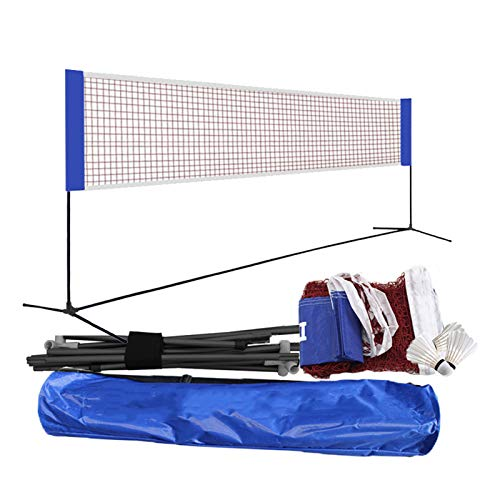 APOE Badminton Set mit Netz, Badminton Netz Outdoor Garten, Tragbares Badmintonnetz Tennisnetz Einstellbar Volleyballnetz Profi Faltbares Trainingsnetz, Leicht und stark, 3m-6m