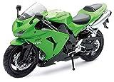 New Ray 42443 A - Moto Kawasaki ZX 10 R / Honda CBR, Véhicule Miniature, échelle 1:12, Vert / Noir