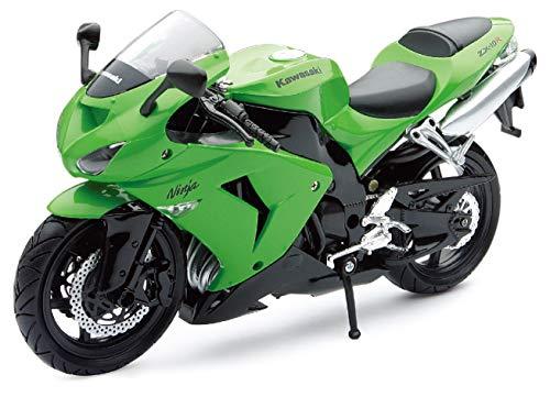 New Ray 42443 I - Motocicleta Kawasaki ZX 10 R / HONDA CBR, Vehículo en miniatura, escala 1:12, Verde / negro