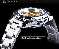 QTMIAO美しい機械式時計 機械式腕時計中空の小さな古典的な機械式時計をフォージングメンズマニュアルスチールベルト (Color : 1)