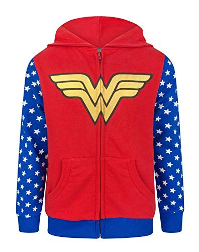 Girl's Zip Up Wonder Woman Hoodie. Ages 5 to 12 Years