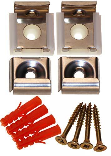 SECOTEC V105A040S850 spiegelklem, spiegelbevestiging, roestvrij staal, complete set voor het bevestigen van 1 spiegel, 4 stuks