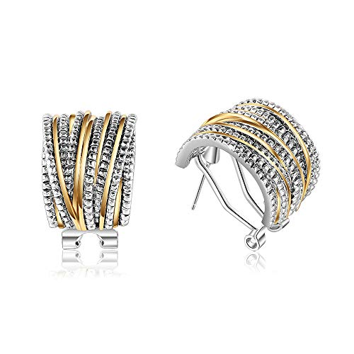 Mytys 2 Tone Studs Earrings for Women Girl Gold and Silver Crossover Cable Half Hoop Statement Designer Earrings