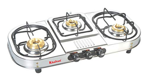 "Khaitan Gas Stove 3 Burner Draw""Double Decker"" (with Extra Big Party Cooking Burner) Stainless Steel"