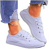 BIBOKAOKE Loafers, scarpe da ginnastica da donna, in tela, con lacci, traspiranti, per il tempo libero, per il tempo libero, comode scarpe da ginnastica in tela