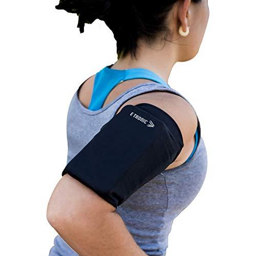 E Tronic Edge Handytasche - Laufen, Joggen, Running - Elastisches Laufarmband für Handy-Modelle jeder Größe - Hoher Schwarz - Medium