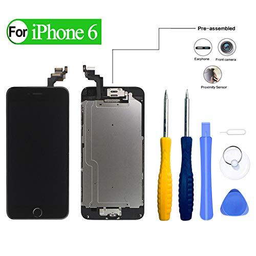 HDXYW kompatibel mit iPhone 6 Schwarz Display Reparaturset, Komplett Ersatz Bildschirm Touchscreen mit Gehärtetes Glas öffnungswerkzeug vormontiert mit Home Button,Frontkamera 2020 [Verbesserte]