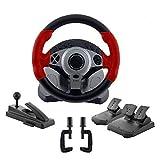 コントローラー 900度レーシングゲームステアリングホイールコンピューターラーニングカーシミュレーションドライビングマシンアクセルブレーキギアレバー SYMJP (Color : レッド, Size : フリー)