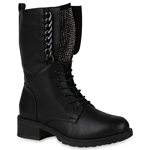 Damen Schnürstiefel Combat Boots Leicht Gefütterte Stiefel Ketten 149847 Schwarz Ketten 36 Flandell