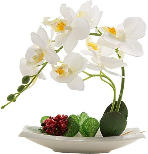 Flores artificiales de orquídeas con maceta de alta calidad Bonsái de Phalaenopsis para decoración hogar de fiestas (Blanco)