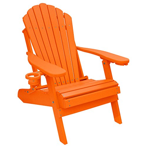 ECCB Outdoor Outer Banks Deluxe Oversized Poly Lumber Folding Adirondack Chair (Bright Orange)