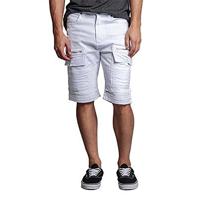Men's Cargo Pocket Ribbed Distressed Biker Moto Style Shorts