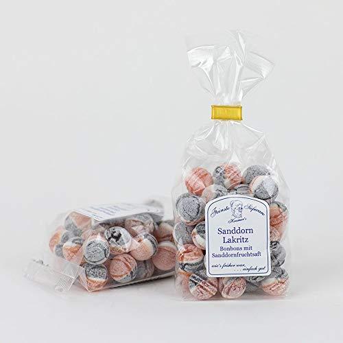 Sanddorn-Lakritz-Bonbons mit Sanddornfruchtsaft hergestellt