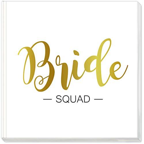 Sophies Kartenwelt - Libro de visitas Bride Squad con Relieve Dorado, Cubierta Dura, Formato 21 x 21 cm, con 144 páginas Blancas para Despedida de Soltera