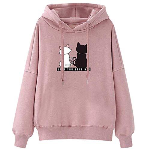 Lazzboy Beiläufige Lange Hülsen Katzendruck Kapuze Sweatershirt Oberseiten Damen Herbst Hoodie Frauen Sweatshirt Pullover Oberteile Kapuzenpullover(Rosa,2XL)