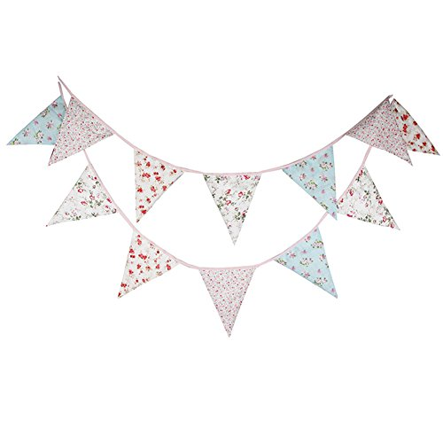 Demarkt 12 Beautiful Colourful Garland Bunting for Outdoor Decoration with Flower Pictures Cotton Total Length 3.2 m (Blume)