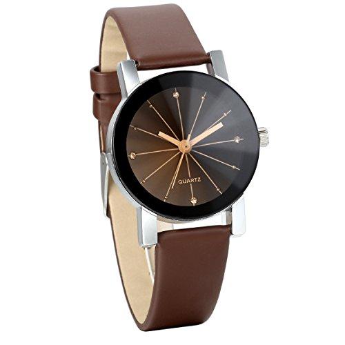JewelryWe Damen Armbanduhr, Analog Quarz, Klassiker Elegant Business Casual Uhr mit Schwarz Rund Zifferblatt & Braun Leder Armband
