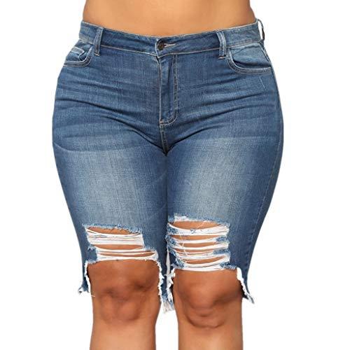 WUAI Ripped Jean Shorts for Women High Waist Bermuda Shorts Ripped Distressed Stretch Denim Shorts Plus Size(Blue,XX-Large)