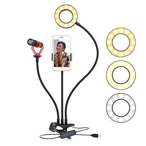 Product Image of the Movo Desk Ring Light with Stand and Phone Holder with VXR10 Video Microphone...
