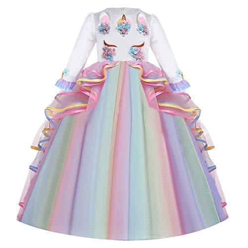 FMYFWY Niña Vestido de Unicornio Princesa Cumpleaños Manga Larga Disfraz de Carnaval Halloween Navidad Fiesta de Cosplay para Chicas Bautizo Comunión Boda Velada Ropa 4-15 años