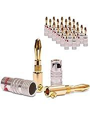 NAUC Nakamichi - Juego de 24 conectores tipo banana para cables de hasta 6 mm², 24 K, soldable o enroscable, color negro y rojo