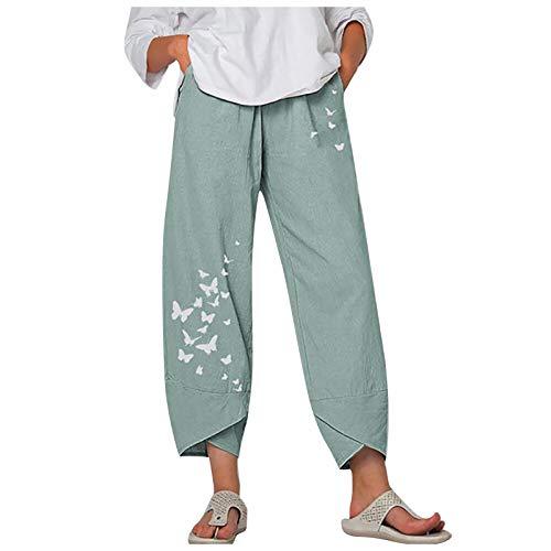 Pantaloni estivi da donna in lino, stile boho, 7/8, con stampa a margherite, taglio comodo, elastico in vita, pantaloni da yoga con gamba larga verde XL