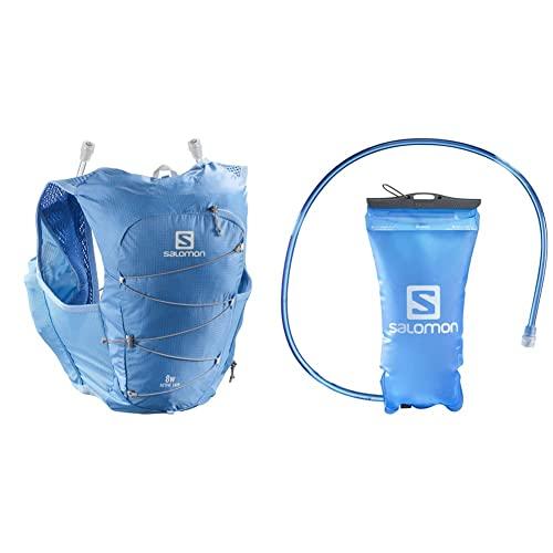 SALOMON Active Skin 8 Set Chaleco 8L Mujer 2x Soft Flasks Incluidas Trail Running Senderismo + Soft Reservoir Tanque Flexible 1.5L Trail Running Senderismo