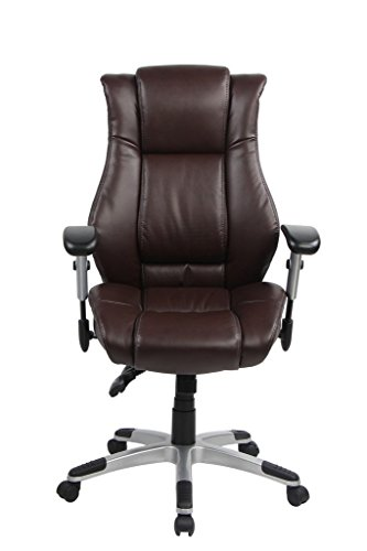 VO Furniture High-Back Executive Chair Bonded Leather Adjustable Desk Office Chair Swivel Comfortable Rolling Chair with Arms and Wheels (Brown)